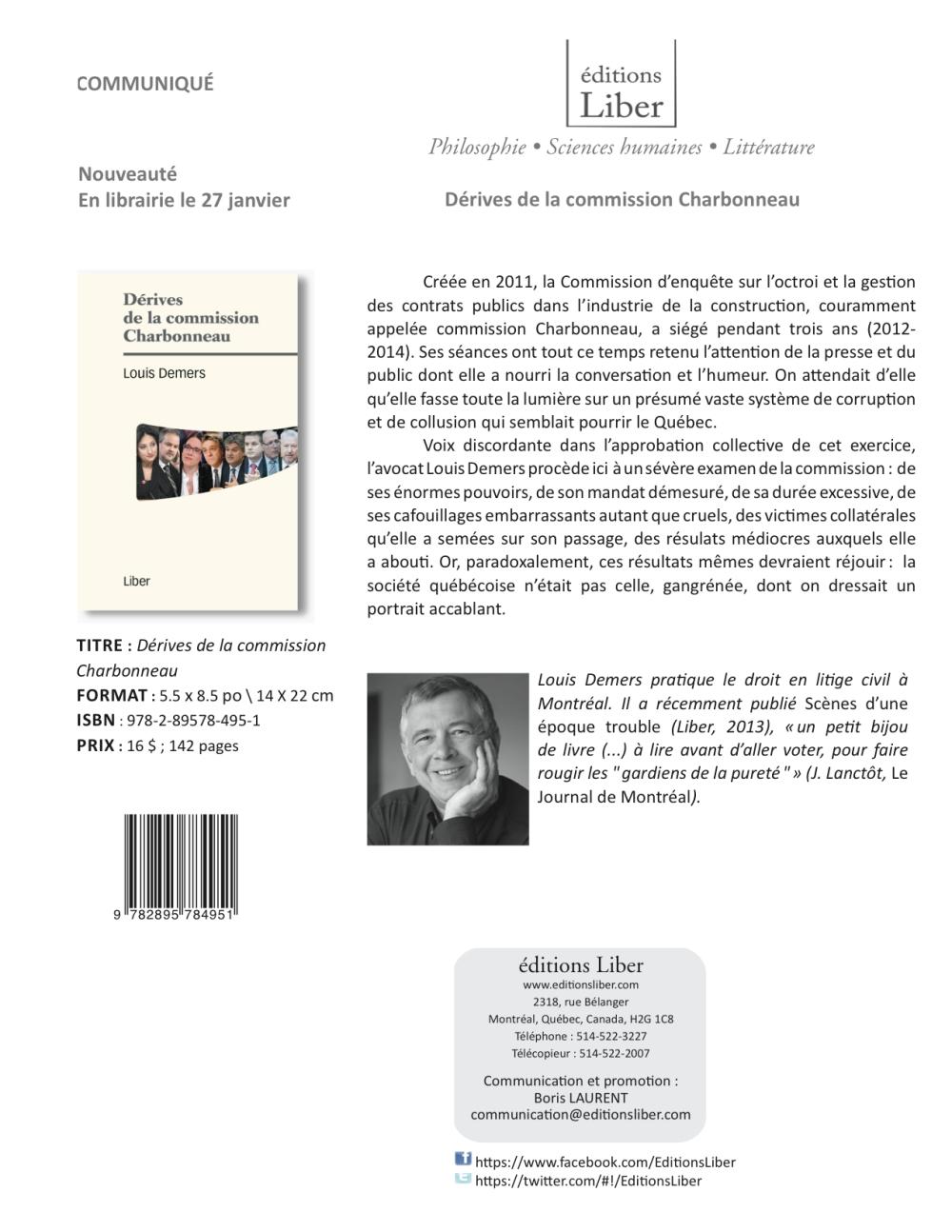Nouvelle publication de Louis Demers chez les Éditions Liber: Dérives de la commission Charbonneau